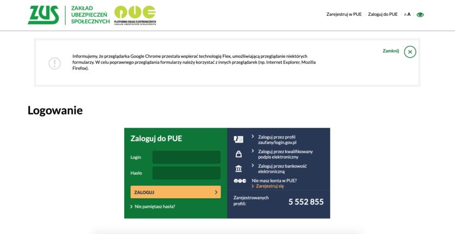 Панель входа в PUE ZUS