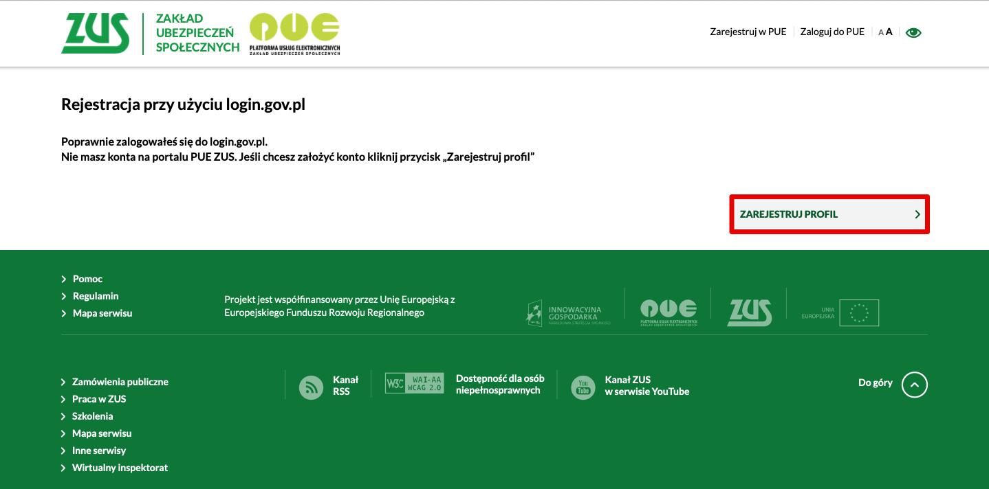 Панель регистрации профиля в PUE ZUS
